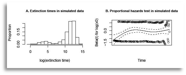 Populations initiated far from quasi-stationarity exhibit two-phase behavior that may result in a bimodal extinction time distribution. The goal of our study was to distinguish this two-phase behavior in ensembles of populations initialized far from quasi-stationarity from the exponential extinction time distribution commonly observed when populations are initialized near quasi-stationarity. To illustrate this pattern in its extreme form (a bimodal extinction time distribution), 1,000 simulations of a logistic birth-death process initialized at x0=1 (panel A). The escape to quasi-stationarity is reflected in an initial increase followed by leveling off of the mean Schoenfeld residuals from a Cox proportional hazards model. The depicted Schoenfeld residual plot (panel B) is for a Cox proportional hazards model fit to data from 200 simulations of a logistic birth-death process, evenly divided between populations initialized at x0=1 and x0=5, corresponding to the spread in initial population sizes used in an experiment. The residual mean +/- one s.e. are indicated by the solid and dashed lines, respectively.
